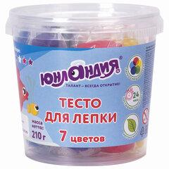 Пластилин на растительной основе (тесто для лепки) ЮНЛАНДИЯ, 7 цветов, 210 г, стакан, 105503
