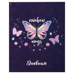 Дневник 1-4 класс, 48 л., твердый, ЮНЛАНДИЯ, глянцевая ламинация, с подсказом, «Бабочка», 106022
