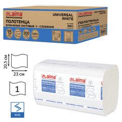 Полотенца бумажные 200 шт., LAIMA (H3) UNIVERSAL WHITE, 1-слойные, белые, КОМПЛЕКТ 15 пачек, 23x20,5, V-сложение, 111342