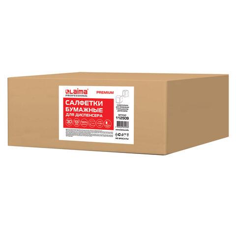 Салфетки бумажные для диспенсера, LAIMA (N2) PREMIUM, 1-слойные, КОМПЛЕКТ 30 пачек по 100 шт., 17x15,5 см, белые, 112509
