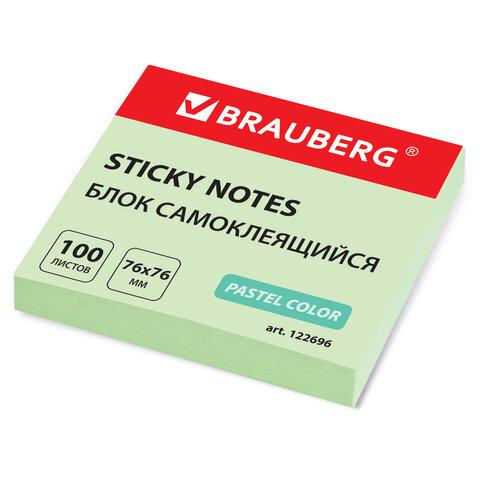 блок самоклеящ.  brauberg 76*76 мм 100л., зеленый, 122696