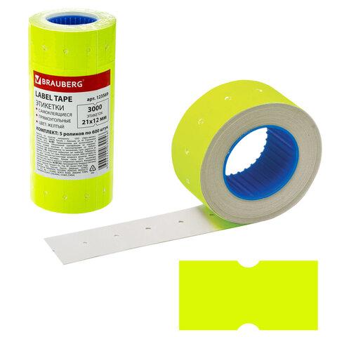 Анонс-изображение товара этикет-лента 21*12мм прямоугольная, желтая, комплект 5 рулонов по 600 шт., brauberg, 123569