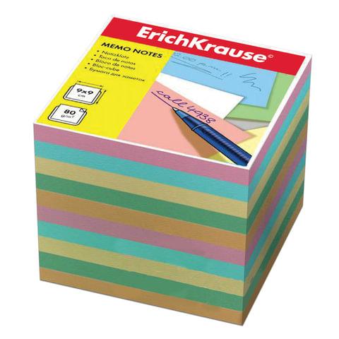 блок для записей erich krause непроклеенный, 9*9*9, цветной, 5140