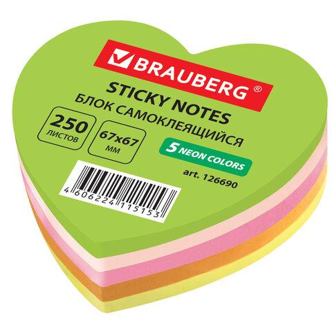 блок самоклеящ. (стикер) фигурный brauberg неоновый, в форме сердца, 67*67 мм, 250 л, 5цветов,126690