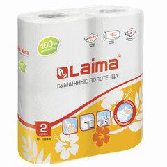 Полотенца бумажные бытовые, спайка 2 шт., 2-х слойные, (2х18 м), LAIMA/ЛАЙМА, 22х23 см, белые, 126906