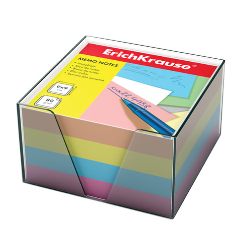 блок для записи erich krause, 9*9*5см, пластиковый бокс, цветной, 5141