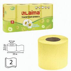 Бумага туалетная бытовая, спайка 8 шт., 2-х слойная, (8х19 м), LAIMA/ЛАЙМА, аромат ромашки, 128721