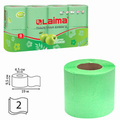 Бумага туалетная бытовая, спайка 8 шт., 2-х слойная, (8х19 м), LAIMA/ЛАЙМА, аромат яблока, 128723