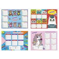 Расписание уроков и звонков А4, ЮНЛАНДИЯ, для девочек, ассорти (4 вида), бумага 170 г/<wbr/>м<sup>2</sup>, 129781