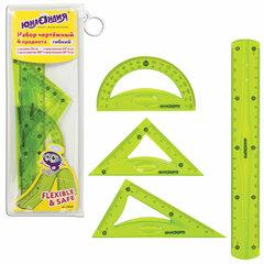 Набор чертежный средний гибкий ЮНЛАНДИЯ «FLEX» (линейка 20 см, 2 треугольника, транспортир), пенал, 210682