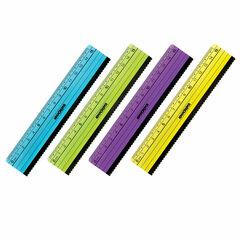 Линейка пластик 15 см ЮНЛАНДИЯ «НЕОНЧИКИ», ассорти, с волнистым краем, 210732