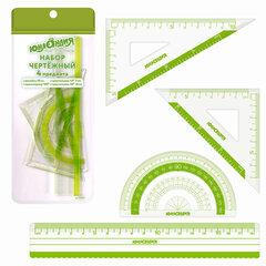 Набор чертежный ЮНЛАНДИЯ «ГЕОМЕТРИЯ» (линейка 18 см, 2 треугольника, транспортир), зеленая шкала, 210740