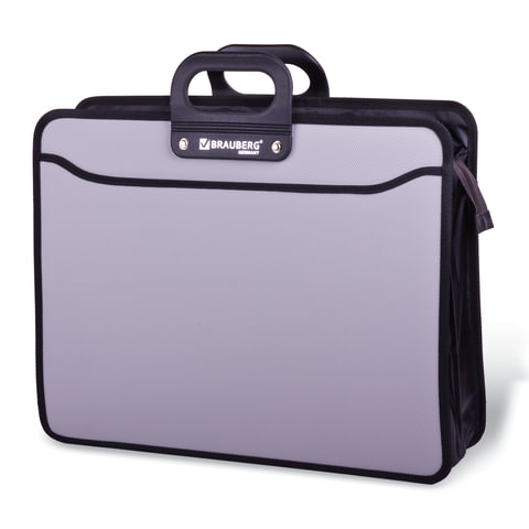 Анонс-изображение товара папка-портфель пласт. большого формата  brauberg портфолио, а3 (470х380х130мм),3 отд., серый, 223080