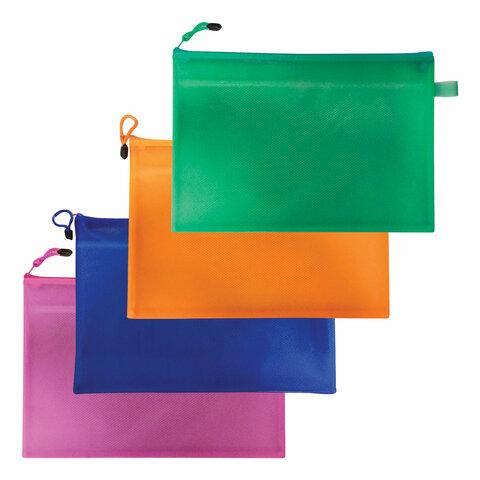 """Анонс-изображение товара папка-конверт на молнии brauberg """"energy"""", а4, 335*243мм, 2 отд, пвх нейлон, ассорти, 223895"""