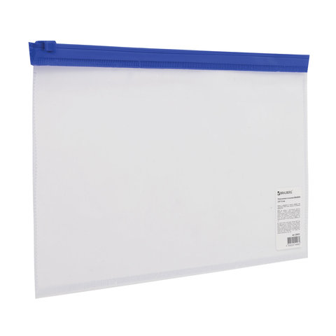Анонс-изображение товара папка-конверт на молнии малого формата (250х135 мм), прозрач, молния синяя, 0,11мм, brauberg, 226032