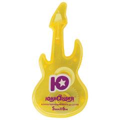 Корректирующая лента ЮНЛАНДИЯ «Гитара» 5 мм х 6 м, корпус желтый, блистер, 227798