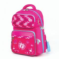 Рюкзак ЮНЛАНДИЯ с пеналом в комплекте, эрго-спинка, для девочек, «Бабочки», 42х29х14 см, 227850