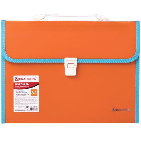 """Анонс-изображение товара папка-портфель пласт. brauberg """"joy"""", а4 (330х245х35мм), 13 отделений, с окант., оранжвый, 227975"""