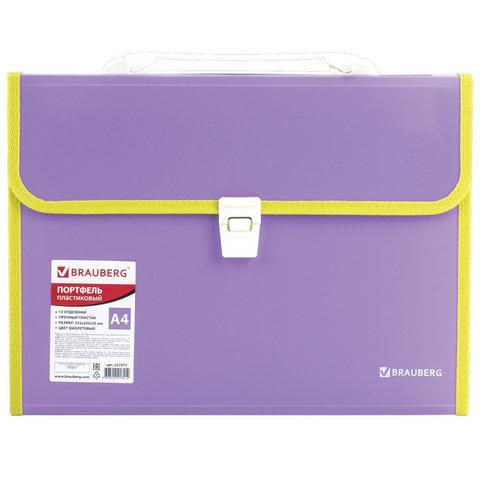 """Анонс-изображение товара папка-портфель пласт. brauberg """"joy"""", а4 (330х245х35мм), 13 отделений, с окант., фиолетовый, 227977"""
