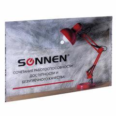 Папка-конверт с кнопкой SONNEN, А4, 160 мкм, до 100 листов, цветная печать, 228059