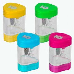 Точилка ЮНЛАНДИЯ «Трио +», со стирательной резинкой, с контейнером, пластиковая, ассорти, 228439
