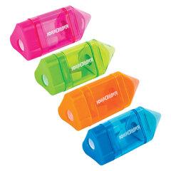 Точилка ЮНЛАНДИЯ «Карандашик», со стирательной резинкой, с контейнером, пластиковая, ассорти, 228440