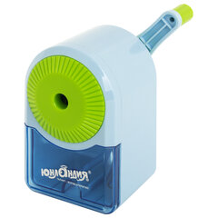 Точилка механическая ЮНЛАНДИЯ «Basic», для ч/<wbr/>гр и цветных карандашей, крепление к столу, корпус голубой с зеленым, 228627