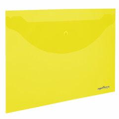 Папка-конверт с кнопкой ЮНЛАНДИЯ, А4, до 100 листов, прозрачная, желтая, 0,18 мм, 228668