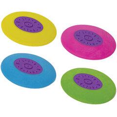 Ластик ЮНЛАНДИЯ «Воздушный шар», 50х33х8 мм, цвет ассорти, круглый, фиолетовый пластиковый держатель, 228726