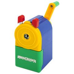 Точилка механическая ЮНЛАНДИЯ «Светофор», металлический механизм, корпус голубой, 228766
