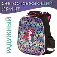 Ранец ЮНЛАНДИЯ EXTRA, с дополнительным объемом, «Rainbow unicorn», СВЕТЯЩИЙСЯ РИСУНОК, 38×29×18 см, 229932