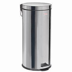 """Ведро-контейнер для мусора (урна) с педалью LAIMA """"Classic"""", 30 л, зеркальное, нержавеющая сталь, со съемным внутренним ведром, 232263"""