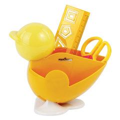 Канцелярский детский набор ЮНЛАНДИЯ «ЦЫПЛЕНОК», 4 предмета: подставка, линейка со скрепками, ножницы, ластик, цвет желтый, блистер, 236959