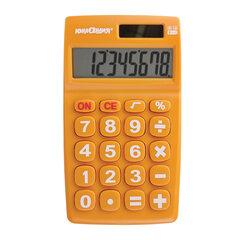 Калькулятор карманный ЮНЛАНДИЯ (135х77 мм) 8 разрядов, двойное питание, ОРАНЖЕВЫЙ, блистер, 250457