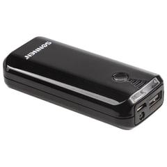 Аккумулятор внешний SONNEN POWERBANK V218, 5000 mAh, литий-ионный, черный, 262752