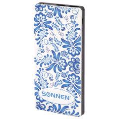 Аккумулятор внешний SONNEN POWERBANK V3802SB, 8000 mAh, 2 USB, литий-полимерный, 262916