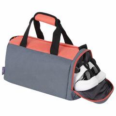 Сумка спортивная ЮНЛАНДИЯ с отделением для обуви, 40х22х20 см, серый/<wbr/>персиковый, 270095