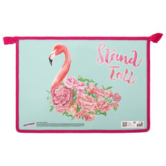 Папка для тетрадей ЮНЛАНДИЯ А4, 1 отделение, картон/<wbr/>пластик, глиттер, молния сверху, Flamingo, 270104