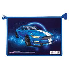 Папка для тетрадей ЮНЛАНДИЯ А4, 1 отделение, картон/<wbr/>пластик, конгрев, молния сверху, «Blue Car», 270106