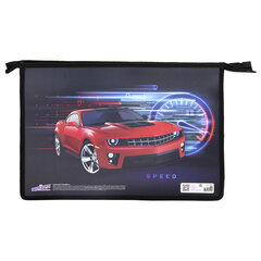 Папка для тетрадей ЮНЛАНДИЯ А4, 1 отделение, пластик, молния сверху, «Red Car», 270113