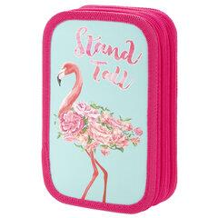 Пенал ЮНЛАНДИЯ, 2 отделения, ламинированный картон, блестки, 19х11 см, Flamingo, 270174