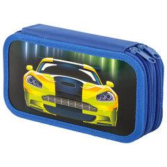 Пенал ЮНЛАНДИЯ, 2 отделения, ламинированный картон, конгрев, 19х11 см, Neon car, 270175