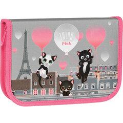 """Пенал TIGER FAMILY 1 отделение, 1 откидная планка, ткань, """"Think Pink In Paris"""", 20х14х4 см, 270246"""
