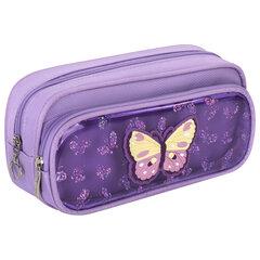 Пенал-косметичка ЮНЛАНДИЯ, 2 отделения, полиэстер, «Butterfly», фиолетовый, 21х6х9 см, 270256