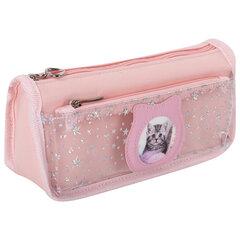Пенал-косметичка ЮНЛАНДИЯ, 2 отделения, полиэстер, «Kitty», розовый, 21х6х9 см, 270261