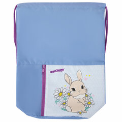 Мешок для обуви ЮНЛАНДИЯ, на шнурке, карман на молнии, 33х42 см, «Cute Rabbit», 270406