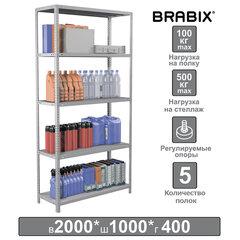 """Стеллаж металлический BRABIX """"MS Plus-200/40-5"""", 2000х1000х400 мм, 5 полок, регулируемые опоры, 291109"""