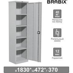 """Шкаф металлический офисный BRABIX """"MK 18/47/37-01"""", 1830х472х370 мм, 25 кг, 4 полки, разборный, 291138"""
