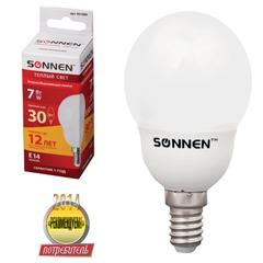 Лампа люминесцентная энергосберегающая SONNEN шар Т2, 7 (30) Вт, цоколь E14, 12000 ч., теплый свет, премиум, 451080
