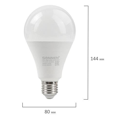 Лампа светодиодная SONNEN, 20 (150) Вт, цоколь Е27, груша, теплый белый, 30000 ч, LED A80-20W-2700-E27, 454921